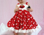 custom boutique twirl dress made with elmo patch 2-6