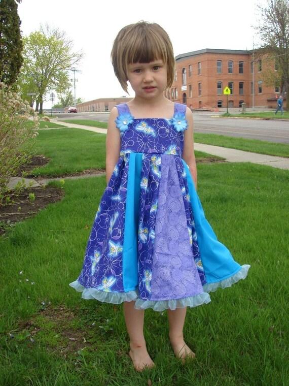 Custom Boutique Twirl Dress Designed with Disney Tinker Bell Fabric 2T-6X