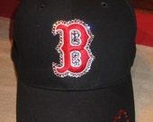 Swarovski Crystal Boston Red Sox Ladies Baseball Cap--Navy