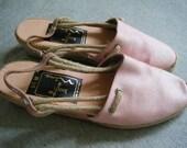 SALE -- Light Pink Wedge Espadrilles - 6.5