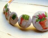 Vintage watercolor plants (symmetrical necklace 20)