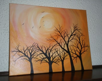 Landscape Nature acryclic painting with orange background and trees
