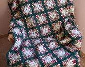 Green and Red Granny Square Afghan
