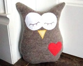 Owl Pillow Plush - Recycled Wool - Tan Embroidered