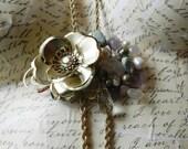 Vintage Brass Flower Rose Quartz Amethyst Turquoise Vintage Renewal Long Necklace
