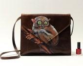Vintage leather bag 'Virgin Eyes', hand-painted