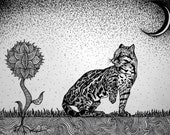The Curious Cat-Original pen and ink illustration No.1