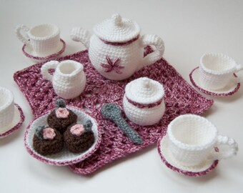 PDF Crochet Pattern - My Nana's Tea Set
