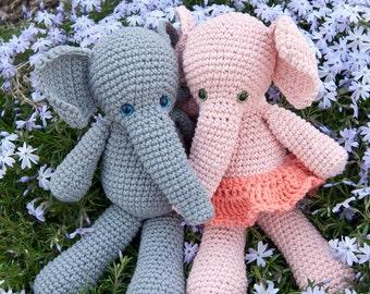 PDF Crochet Pattern - Morris and Matilda Amigurumi Elephant Dolls