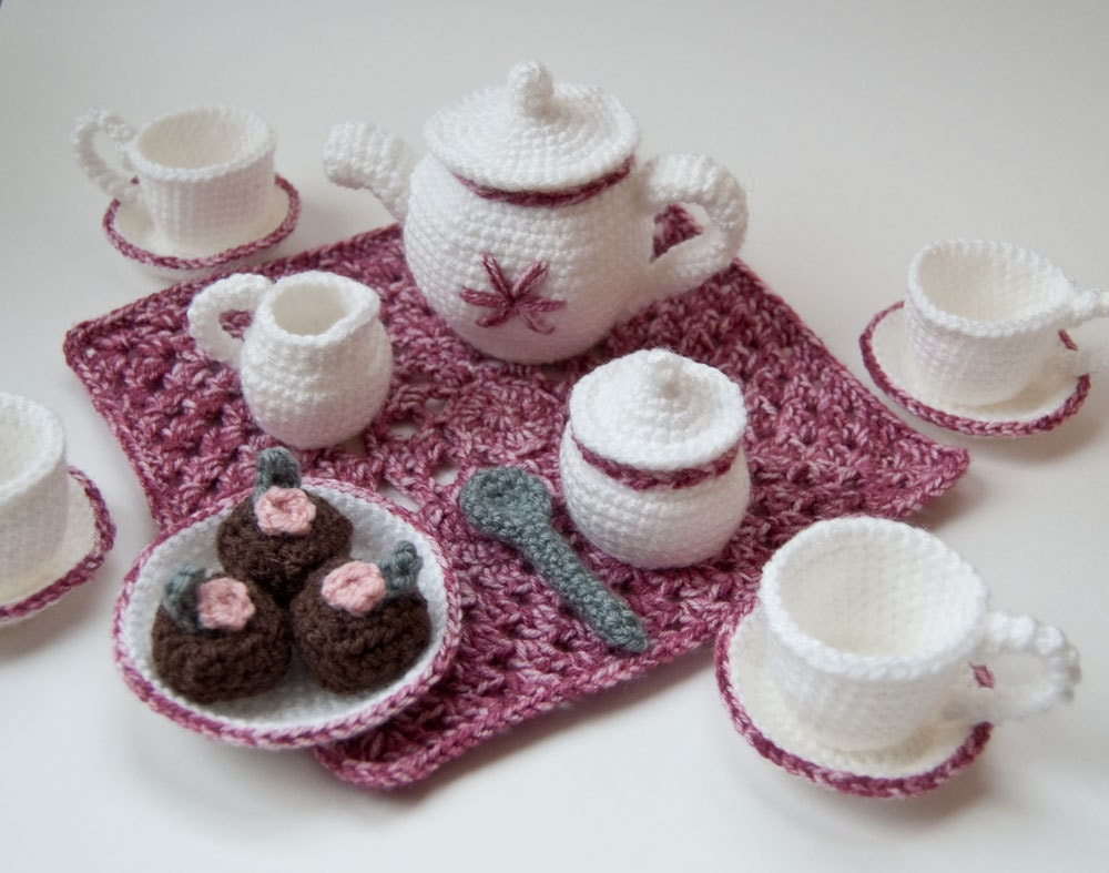 Amigurumi Crochet Teapot Pattern : PDF Crochet Pattern My Nanas Tea Set