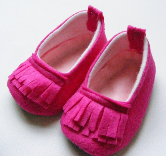The Piper - Color Pop Loafer Neon Hot Pink Felt Baby Shoes - Designer Baby Shoes