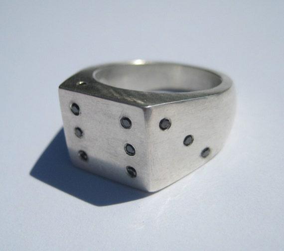 Black diamond dice ring by pitu7design on etsy