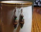 Folksy Vintage Wood Owl Earrings