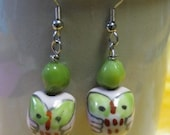 what a hoot - green and pink owl earrings