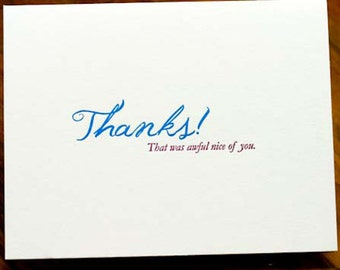 Letterpress Thank You Cards, Thanks (that was awful nice of you)