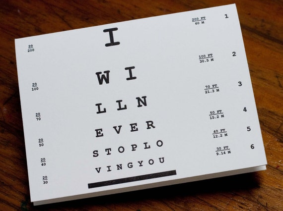 Letterpress Eye Chart Love Card