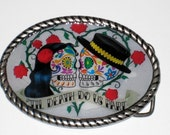 Till death us do part Day of the Dead Belt Buckle Leather strap included for free