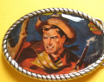 Belt buckle with Vintage Western comic book cover print Belt strap included for free