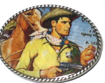 Belt buckle with Vintage Western comic book cover print Free leather belt strap included
