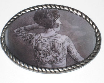 The Tattooed Lady Belt buckle with Vintage Circus comic book cover print Free leather belt strap included
