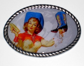 I'm gonna Shine My Boots Belt buckle with PinUp Cowgirl print Free belt strap included