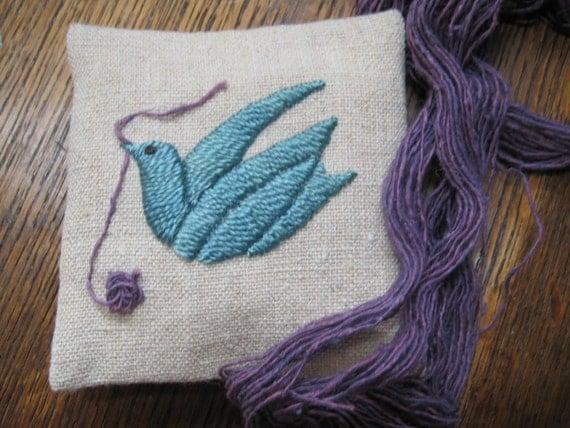 Knitter's Peace Dove Organic Lavender Sachet, naturally dyed silk embroidery on hemp