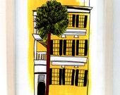 Charleston Single Yellow Home Print of Original Drawing