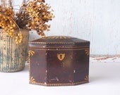 Vintage Tin Tole Painted in Brown and Gold for Storage - Fall Colors