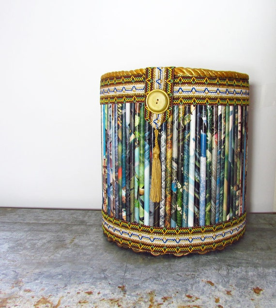 Vintage Wastebasket from Rolled Magazine Recycled Paper