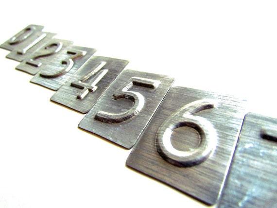 Number Embossing Stamps of Metal 0 through 9 Industrial Look