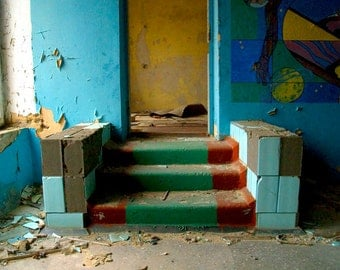Step Photo - Photograph - School Photograph - Color Print - Abandoned School - 8x10 - Ready to Ship - Color Photo