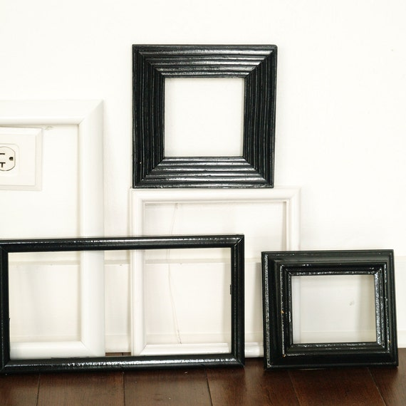 Etsy Sale - Medium Sized Painted Frames - Eclectic Classy - Rustic Black and White