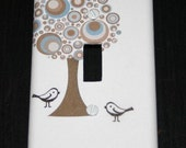 Retro Tree and Birds Switch Plate