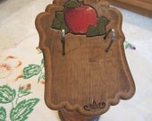 Vintage Wooden Recipe Card Stand with Apple Accents