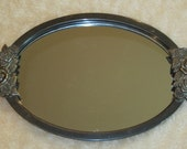 Vintage Silverplate Mirror Vanity Tray with Roses