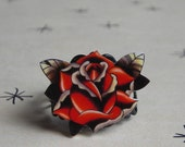 Traditional Tattoo Rose Adjustable Ring