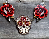 Antiqued Sugar Skull and Tattoo Roses Necklace