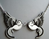 Black and Grey Traditonal Tattoo Swallows Necklace
