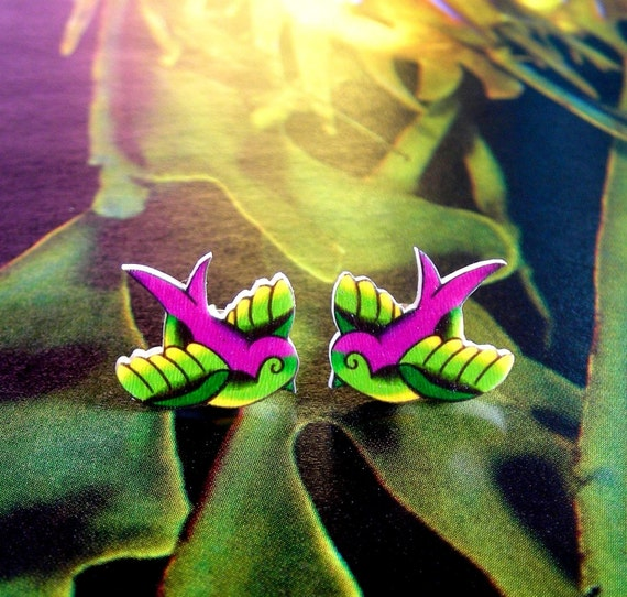 CLEARANCE - Chubby Lil Swallow Tattoo Earrings in Lime and Purple