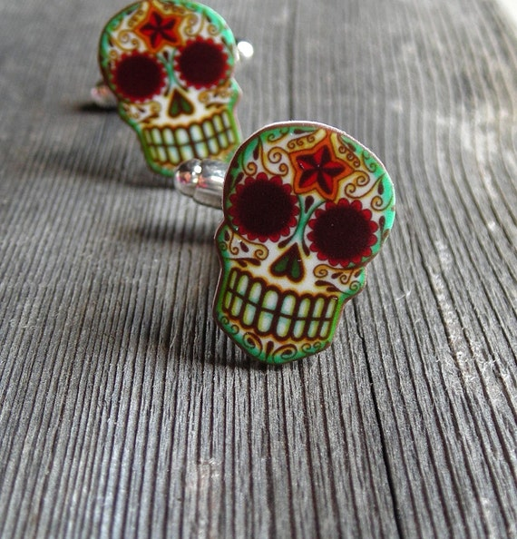 Custom Reserved Listing for hcubbage - Filigree Sugar Skull Cufflinks