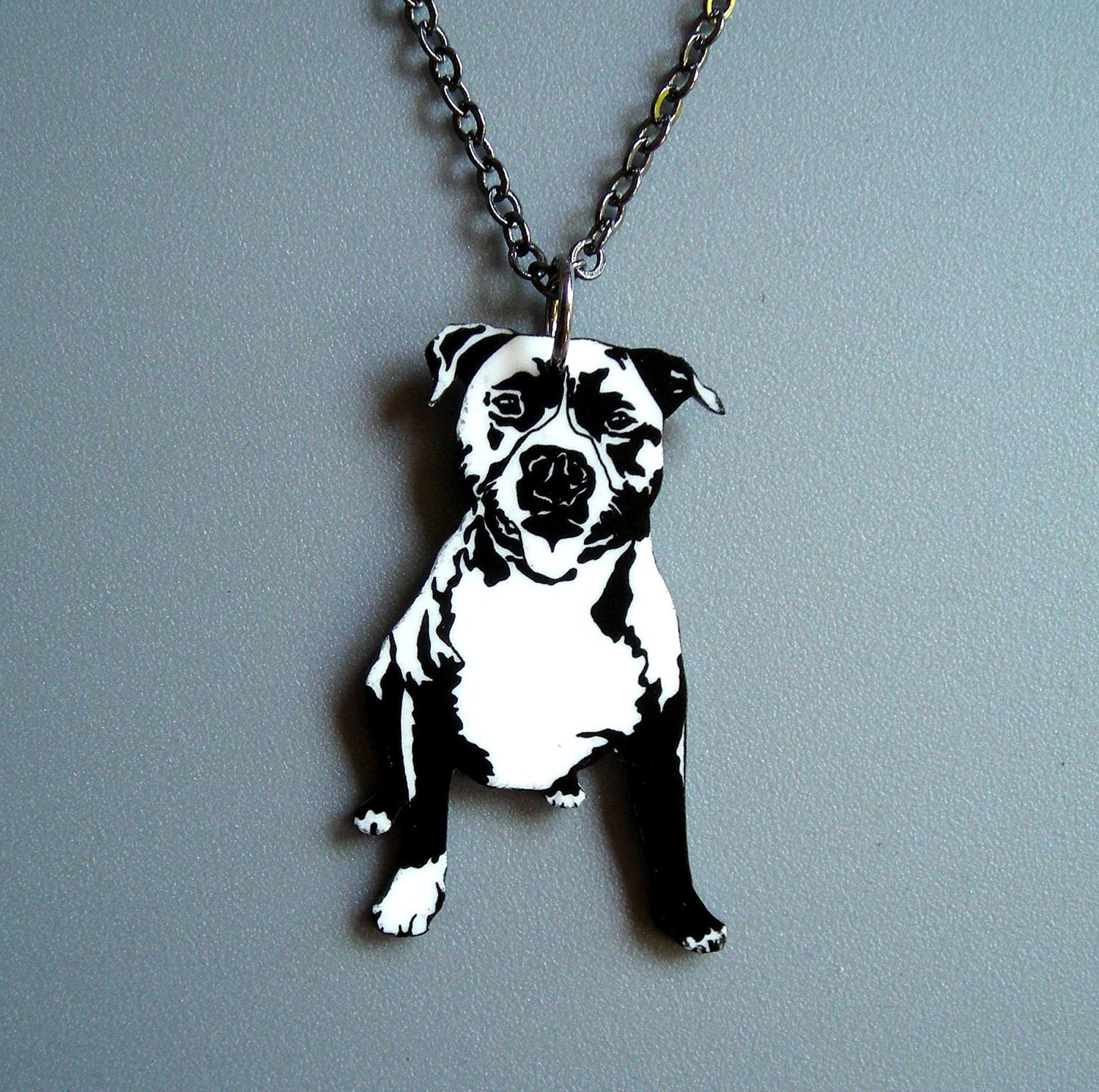 Smiling Pit Bull Necklace 5 dollars from by PrettyInInkJewelry