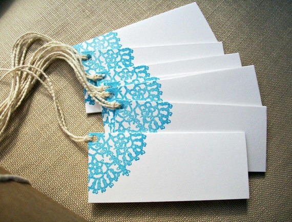 Items similar to Folded Lace Doily Gift Tags, Mini Note ...