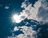blue skies nature photograph / sky, sun, clouds, sunflare, sunburst, star / white, blue / peekaboo / 8x8