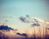 sunset photography, nature photography, winter, twilight, dusk, sundown, blue, purple, pink, peach / december twilight / 8x10