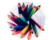 colored pencils photography / rainbow, vibrant, school supplies, art, still life / 8x8 fine art photography