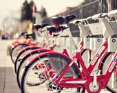 bicycle photography / bike, red, city, denver, lined up / mile high bikes / 8x10 fine art photo