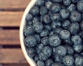 blueberry food photograph / kitchen decor, fruit, summer, berry, berries, wood, midnight blue, still life, brown / blueberries / 8x10