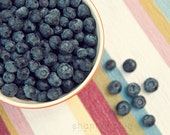 blueberry food photograph / blueberries, berries, berry, summer, fruit, kitchen decor, still life / blueberry picnic / 8x10