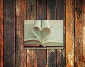 book heart love photo magnet / valentines day, kitchen decor, fine art photograph, book, text, romantic