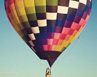 hot air balloon photography / air travel, flight, transportation, blue sky, vibrant / checkered / 8x8 fine art photo